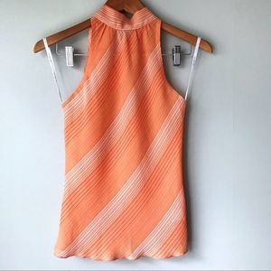 Forever 21 Orange Sheer Sleeveless Blouse